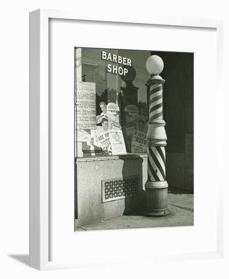Striped Barber Pole Outside Shop-George Marks-Framed Photographic Print