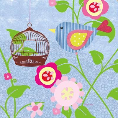 Striped Blue Bird-Sandra Smith-Art Print