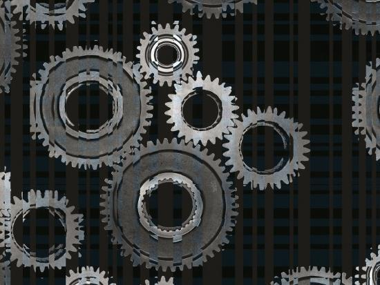 Striped Silver Metal Assembly Gears of Various Sizes--Photographic Print