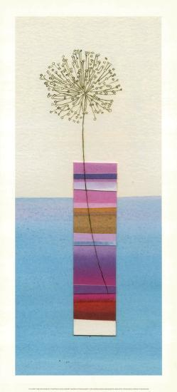 Stripy Vase and Dandelion-Nicola Gregory-Art Print