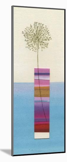 Stripy Vase and Dandelion-Nicola Gregory-Mounted Art Print