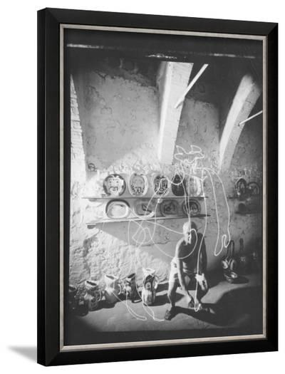 """Stroboscopic Photograph of Pablo Picasso """"Drawing"""" with Light--Framed Photographic Print"""