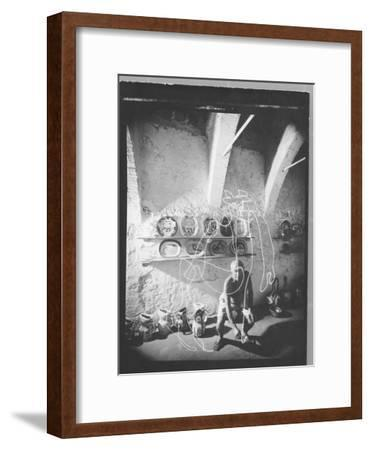 "Stroboscopic Photograph of Pablo Picasso ""Drawing"" with Light--Framed Premium Photographic Print"