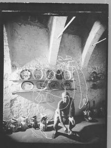 "Stroboscopic Photograph of Pablo Picasso ""Drawing"" with Light"