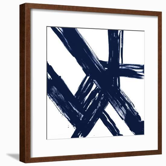 Strokes in Navy I-Megan Morris-Framed Art Print
