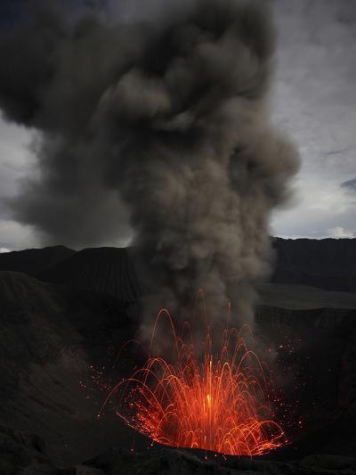 Strombolian Eruption of Mount Bromo Volcano, Tengger Caldera, Java, Indonesia-Stocktrek Images-Photographic Print