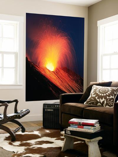 Strombolian Eruption of Stromboli Volcano, Aeolian Islands, Mediterranian Sea, Italy-Stocktrek Images-Wall Mural