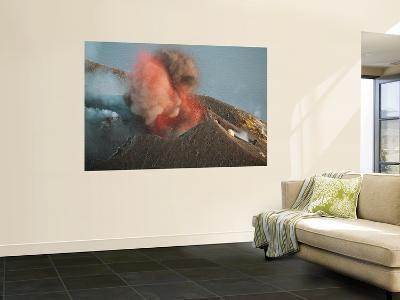 Strombolian Eruption of Stromboli Volcano Producing Ash Cloud, Volcanic Bombs and Lava, Italy-Stocktrek Images-Wall Mural