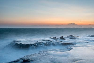 Strong Waves Crashing into Sea Rocks at Sunset, Kanagawa Prefecture, Japan-Discover Japan-Photographic Print