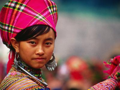 Ethnic Flowery H'Mong Woman at Weekly Market in Vietnam's North, Can Cau, Lao Cai, Vietnam