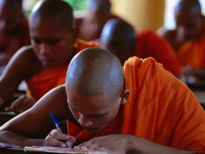 Khmer Buddhist Monks Study Khmer Language and Culture in Community Pagoda, Tra Vinh, Vietnam