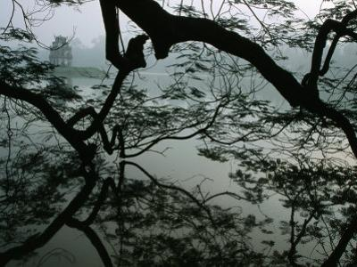 Tortoise Tower in Hoan Kiem Lake Has Become Symbol for Hanoi, Hanoi, Vietnam