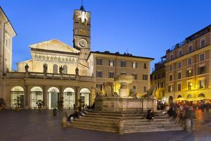 Baroque Fountain and Santa Maria in Trastevere at Night by Stuart Black