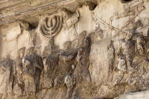 Bas-Relief on Arch of Titus Showing Menorah Taken from the Temple of Jerusalem by Stuart Black