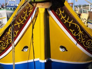 Bow of Traditional Maltese Luzzu Fishing Boat with the Eye of Osiris, Malta, Mediterranean, Europe by Stuart Black