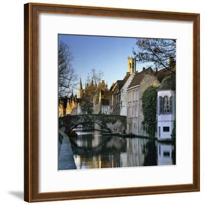 Canal View with Belfry in Winter, Bruges, West Vlaanderen (Flanders), Belgium, Europe