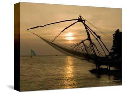Chinese Fishing Nets at Sunset, Kochi (Cochin), Kerala, India, Asia
