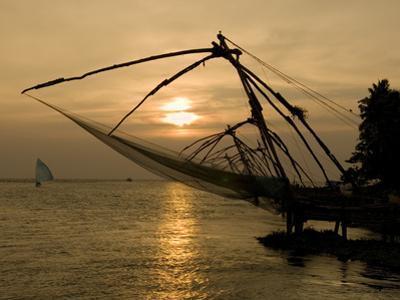 Chinese Fishing Nets at Sunset, Kochi (Cochin), Kerala, India, Asia by Stuart Black