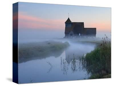 Fairfield Church in Dawn Mist, Romney Marsh, Near Rye, Kent, England, United Kingdom, Europe