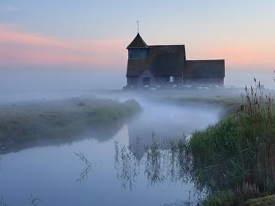 Fairfield Church in Dawn Mist, Romney Marsh, Near Rye, Kent, England, United Kingdom, Europe by Stuart Black