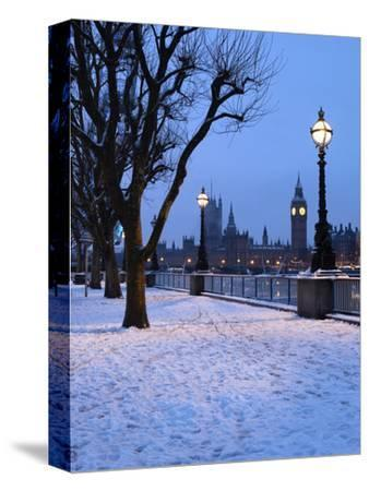 Houses of Parliament and South Bank in Winter, London, England, United Kingdom, Europe