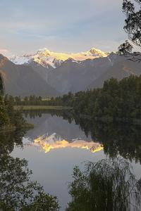 Lake Matheson with Mount Cook and Mount Tasman, West Coast, South Island, New Zealand, Pacific by Stuart Black
