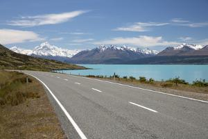 Mount Cook and Lake Pukaki with Empty Mount Cook Road, Mount Cook National Park, Canterbury Region by Stuart Black