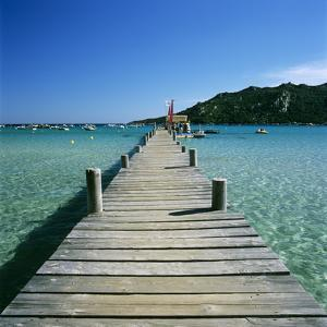 Pier and Bay, Plage De Santa Giulia, South East Corsica, Corsica, France, Mediterranean, Europe by Stuart Black