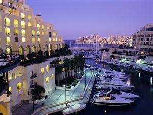 Portomaso Marina at Dusk with Hilton Hotel, Paceville, St. Julian`S, Malta, Mediterranean, Europe by Stuart Black