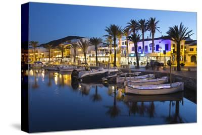 Restaurants at Night Along the Harbour, Fornells, Menorca, Balearic Islands, Spain, Mediterranean
