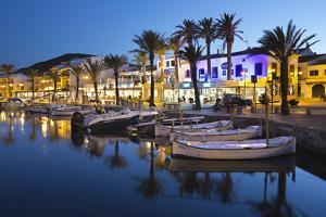 Restaurants at Night Along the Harbour, Fornells, Menorca, Balearic Islands, Spain, Mediterranean by Stuart Black