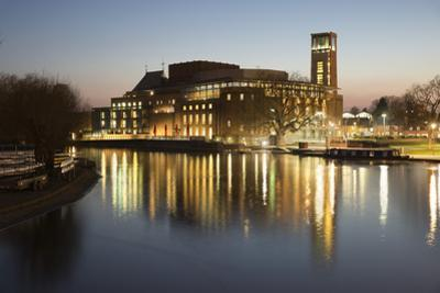 Royal Shakespeare Theatre Lit Up at Dusk Beside River Avon, Stratford-Upon-Avon, Warwickshire by Stuart Black