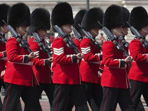 Scots Guards Marching Past Buckingham Palace, Rehearsal for Trooping the Colour, London, England, U by Stuart Black