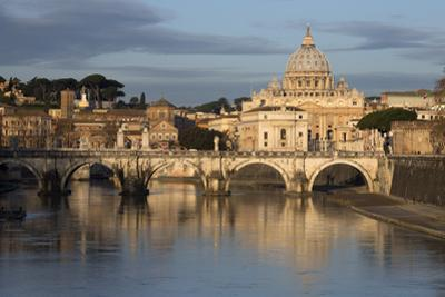 St. Peter's Basilica, the River Tiber and Ponte Sant'Angelo, Rome, Lazio, Italy