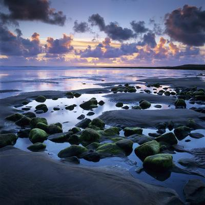 Sunset over Rock Pool, Strandhill, County Sligo, Connacht, Republic of Ireland, Europe