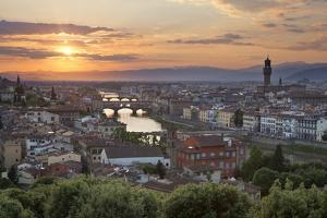 Sunset View over Florence with the Ponte Vecchio and Palazzo Vecchio from Piazza Michelangelo by Stuart Black