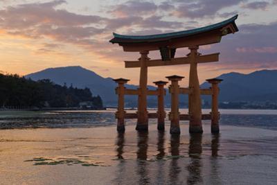 The Floating Miyajima Torii Gate of Itsukushima Shrine at Sunset by Stuart Black
