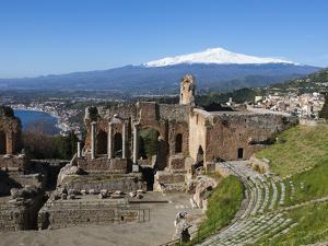 The Greek Amphitheatre and Mount Etna, Taormina, Sicily, Italy, Europe by Stuart Black