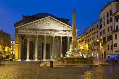 The Pantheon and Piazza Della Rotonda at Night, Rome, Lazio, Italy