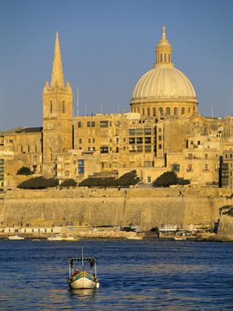View at Sunset to Valletta with Dome of Carmelite Church, Valletta, Malta, Mediterranean, Europe by Stuart Black