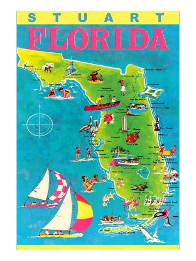 Stuart, Florida, Map with Attractions--Art Print