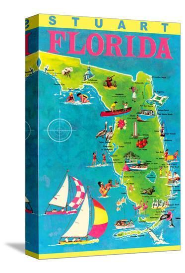 Stuart Florida Map.Stuart Florida Map With Attractions Stretched Canvas Print By