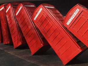 British Red K2 Telephone Boxes, David Mach's Out of Order Sculpture, at Kingston-Upon-Thames, a Sub by Stuart Forster
