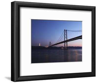 The 25 April Suspension Bridge at Dusk over the River Tagus (Rio Tejo), Christus Rei Is Illuminated