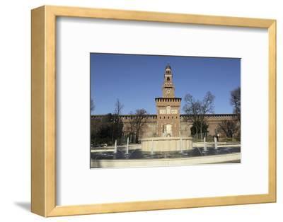 The Torre Del Filarete Clock Tower at the 15th Century Sforza Castle (Castello Sforzesco)