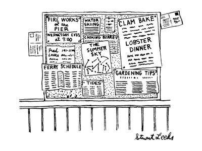 Bulletin board with various leaflets pinned up on it; they say 'The Summer? - New Yorker Cartoon