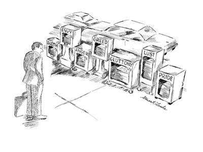 """Businessman looking at  street vending boxes for newspapers marked """"Sloth,? - New Yorker Cartoon by Stuart Leeds"""