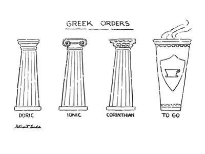 Greek Orders - New Yorker Cartoon by Stuart Leeds