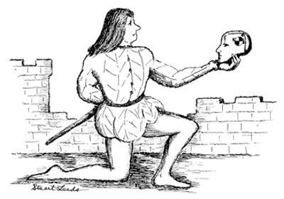 Hamlet holding up a crash-test-dummy head. - New Yorker Cartoon by Stuart Leeds