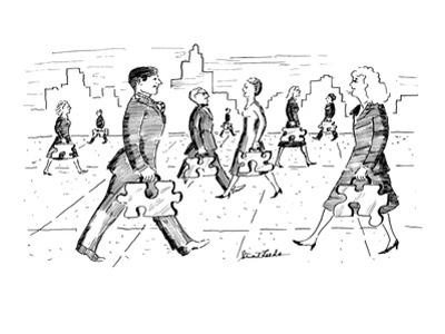 Men and women walk down street with briefcases that are in the shape of ji? - New Yorker Cartoon by Stuart Leeds